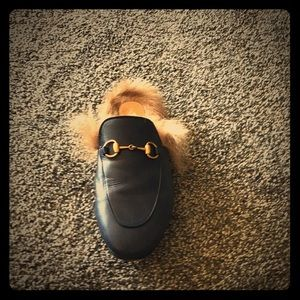 Royal blue Gucci slippers